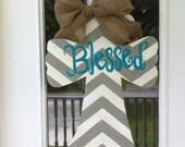 """Chevron Cross Door Hanger """"Blessed"""""""