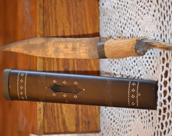 Antique Tribal Knife in Ebony Sheath