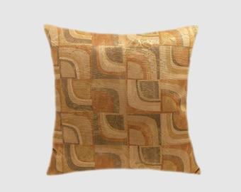 "Designer Beige Honey Brown Geometric pattern Decorative fabric Throw pillow case, fits 18""x18"" insert, Toss pillow case, Cushion case"