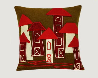 """Decorative Pillow case, Real Army Green color Wool fabric Throw pillow case with City motif applique, fits 18""""x 18"""" insert, Toss pillow case"""