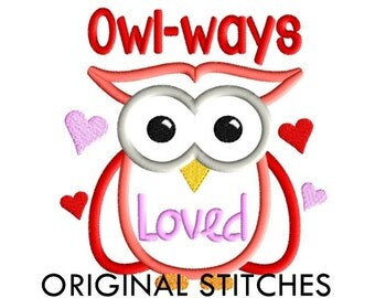 Valentine's Day Owl Applique and Machine Embroidery Digital Design File 5x7 6x10 7x11