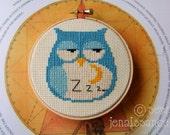 Sleepy Owl and Moon  Cross Stitch  PDF Pattern