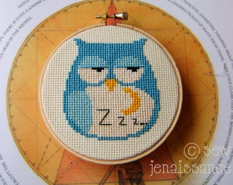 Sleepy Owl and Moon  Cross Stitch  PDF Pattern