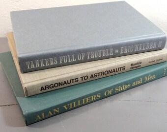 Vintage Earth Tone Nautical Sea Book Collection - Grey Brown & Green