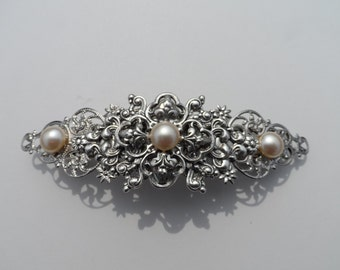 WEDDING hair clip victorian barrette pearl barrette hair clip wedding accessories bridal accessories bridal barrette wedding barrette