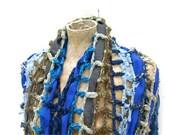 Blue Cowl Poncho  Accessory  Oversized Crocheted Grey  Dusk Blue Womens Scarf