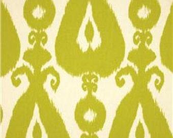 Two 20 x 20  Designer Decorative Pillow Covers - Iskander Ikat - Citrine Lime / Black / Silver Grey
