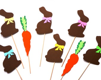 Easter Photo Booth Prop Set - Chocolate Bunnies - Set of 8 Great Photobooth Props - Easter Props