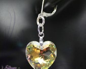 Swarovski Crystal , 925 Sterling Silver - 6215 High Faceted Heart Earrings - Crystal Clear AB , CEA118