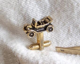 Model A cuff links & tie bar Model T vintage cufflinks automotive automobile