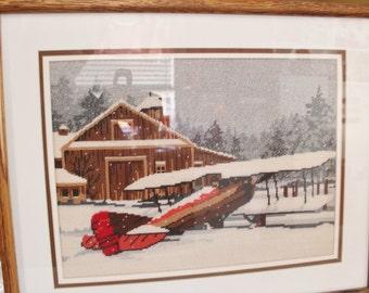 Snowbound -- Vintage needlepoint Framed