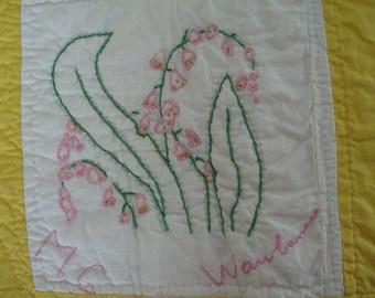 Found Vintage Floral Embroidered Quilt