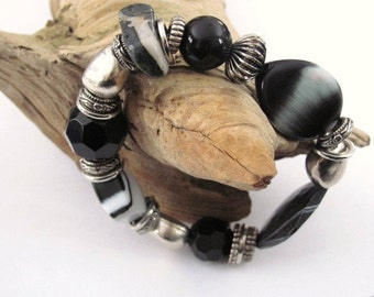 Black Mixed Bead and Stone Stretch Bracelet