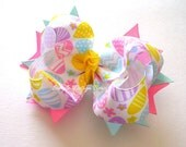 Easter Hair Bow - Medium Twisted Boutique Spike Bow - Pastel Easter Eggs
