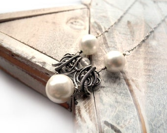 Wedding necklace, white pearl necklace, sterling silver, silver necklace, for bride, bridal jewelry for her