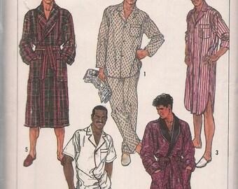 1987 Sewing Pattern Simplicity 8323 Men's Robe, pajamas, nightshirt size XS chest 32-34