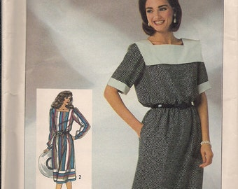 1986 Simplicity sewing pattern 7554 misses pullover dress size 10-12-14 adjust for petite