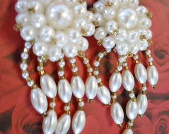 White Beaded Dangle Earrings Vintage Bridal Wedding Fashion Jewelry