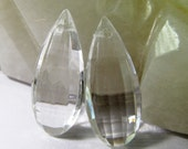 4 Vintage 30mm Crystal Clear Faceted Drop Pendants  Pd434