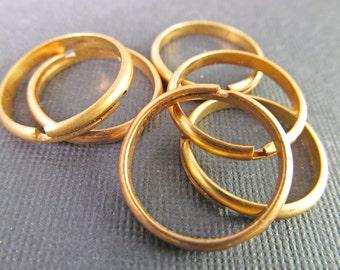 6 Vintage Simple Brass Band Ring Blanks Rg16