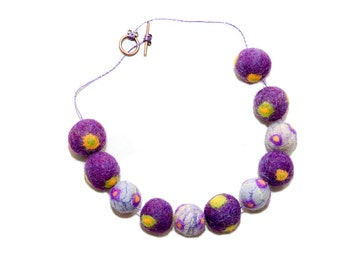 Felted necklace, wool beads, textile jewelry, purple, grey, yellow, green, wool necklace, birthday gift idea, wedding accessories, for prom