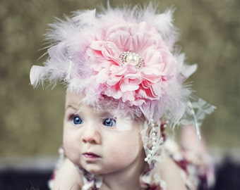 Mi Amor Pink Feather Flower Glamour Headband