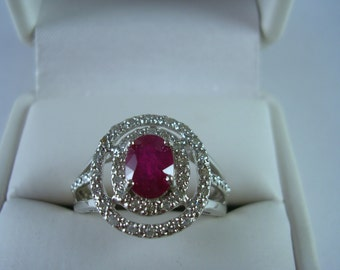 SALE Estate Ruby Ring Double Diamond Halo Mounting 1.34Ctw Size 7.25 WG 3.1gm Engagement Ring