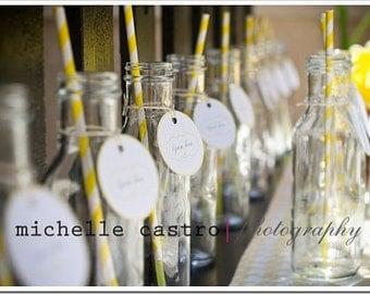 24 - 12 oz. Vintage Glass Milk Bottles- For Drinking or Vases -Weddings- Showers-Signature Drinks