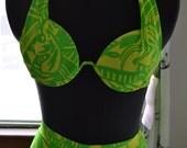 Vintage 1980s Neon Lime and Yellow Tribal Boyshort Bikini- New with Tags