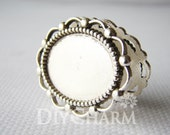 Antique Silver Tone Cameo Cabochon Base Settings 37x30mm ( Inner Size 26x20mm ) - 5Pcs - DS19884