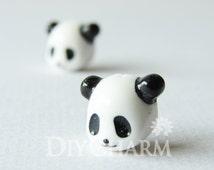 White Color Giant Panda Resin Jewellry 12x12mm - 30Pcs - AD24947