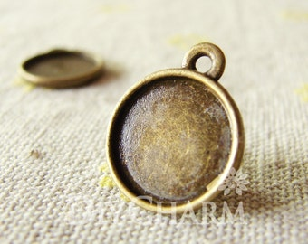 Antique Bronze Cameo Cabochon Base Settings 15x15mm ( Inner Size 12x12mm ) - 10Pcs - DS24240
