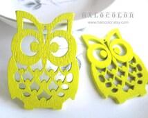 4 PCS - 36x50mm Pretty Yellow Lucky Owl Wooden Charm/Pendant MH105 08