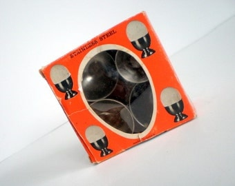 Mid Century Danish Egg Cups with box / Stainless Steel / Set of Four / Jeno Steel Denmark / Kitchen Gift