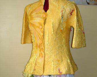 """summer jacket """" Happy """" Nuno felted blazers yellow amber"""