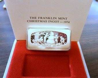 1974 The Franklin Mint Christmas Ingot 66.1 grams 2 OZ Solid  Sterling Silver Bar 1000 grains all marked COA and Box