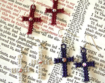 Lace Cross Earrings with Swarovski Crystals,. Lace Cross Earrings, Metalic Thread Cross Earrings