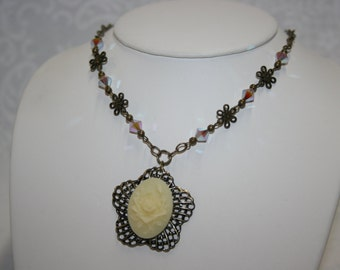 Michelle Ladies Necklace and Earrings Set Ivory Rose Cabochon Cameo Antique Brass Swarovski Crystals