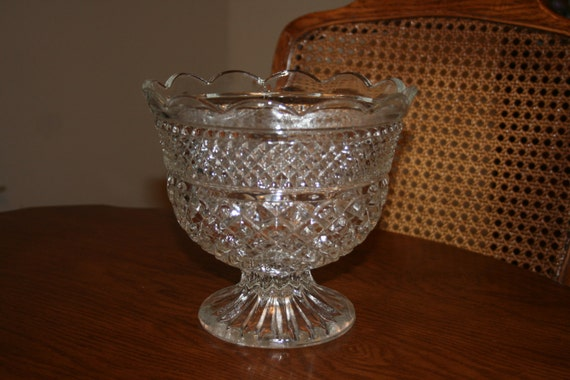 Items similar to vintage clear centerpiece glass bowl footed compote bowl wexford pattern by - Footed bowl centerpiece ...
