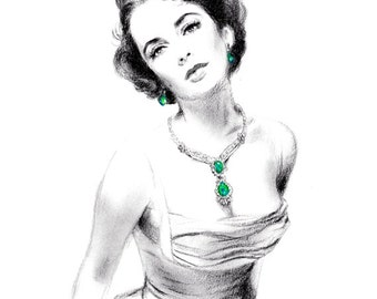 Charcoal Pencil drawing - Elizabeth Taylor Wearing Emerald Jewels