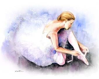 Watercolor painting - Ballerina Tying Ballet Shoes