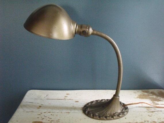 vintage goose neck desk lamp cast metal dome. Black Bedroom Furniture Sets. Home Design Ideas