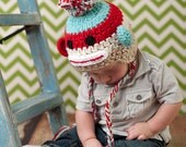 Crochet Striped Sock Monkey Hat, Newborn size
