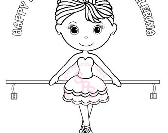 Ballerina Da Nce Birthday Party Favor Childrens Kids Coloring Page