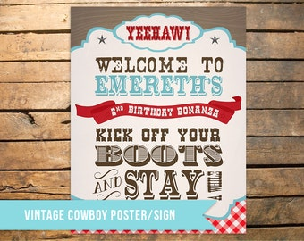 Vintage Cowboy Party Sign