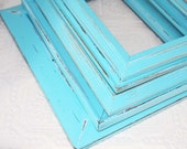 Set Of Five Blue Shabby Chic Vintage Painted Distressed Frame Set