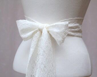 Ivory Cream Lace Wedding Simple Sash/ Flower Girl Sash/ Handmade Accessory