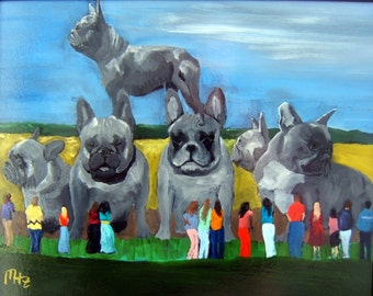 "French Bulldog Art Print of an original oil painting / ""FrenchyHenge"" / 8 x 10 / Dog Art"