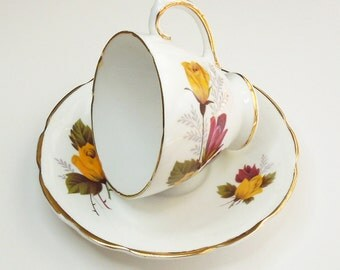 Delphine bone china teacup and saucer in wild yellow rose design - In excellent condition - Made in England