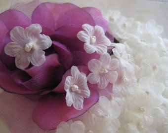 Ivory Cream, Champagne Organza Flowers French Knot center for Wedding Veil, Sewing, Crafting, Embellishment, 1 inch / 25 mm, 30 pcs,